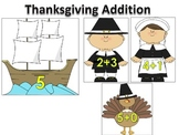 Addition Thanksgiving Matching with Pilgrims and Turkeys Math Center