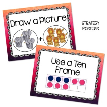 Addition Word Problems - Think Boards - Bundle