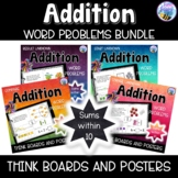 Addition Word Problems Sums within 10 Think Boards Bundle