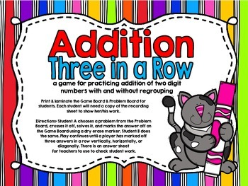Addition Three in a Row-Double Digit With and Without Regrouping