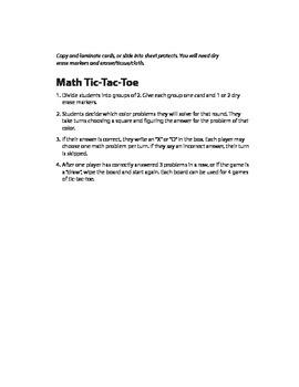 Addition Tic-Tac-Toe (0-11)