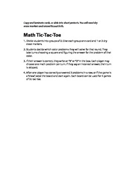 Addition Tic-Tac-Toe (1-12)