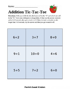 Addition Tic-Tac-Toe EDITABLE