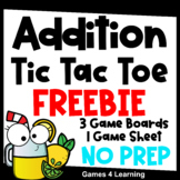 Addition Free: Addition Facts Tic Tac Toe Math Games