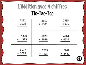Addition Tic Tac Toe (French)