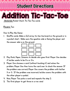 Addition Tic-Tac-Toe: Practicing Addition Word Problems with a Game!