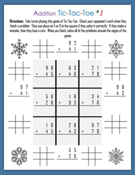 Addition Tic-Tac-Toe (Second Grade)
