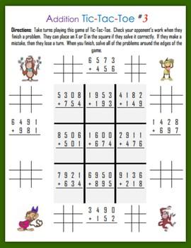 Addition Tic-Tac-Toe (Third Grade)