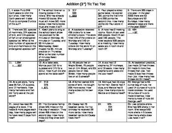Addition Tic Tac Toe Word Problems-3rd