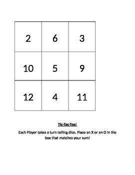 Addition Tic-Tac-Toe with dice