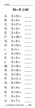 Addition Timed Mini-Tests