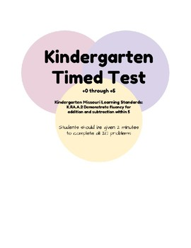Addition Timed Test-Kindergarten +0 through +5