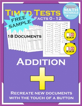 Addition Math Facts Timed Test (FREE SAMPLE) - Automatic Generator