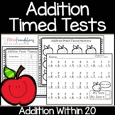 Addition Timed Tests 0-20   Math Fact Fluency Within 20