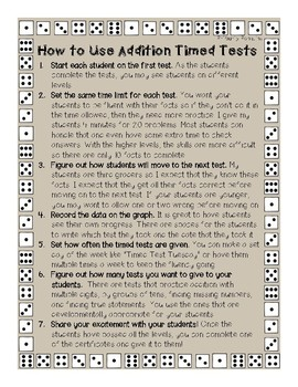Addition Timed Tests- First Grade Edition