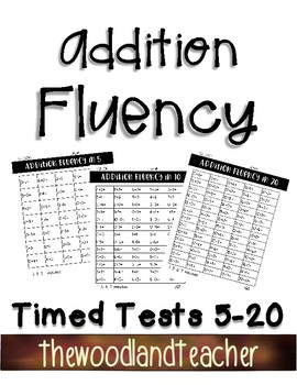 Addition Timed Tests in 5, 10, and 20