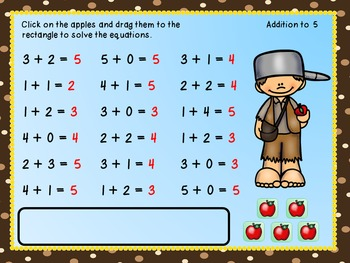 Addition To 10 With Johnny Appleseed (For Use In Google ClassroomTM)