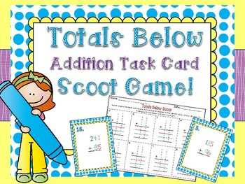 Addition Totals Below Task Cards Color Coded Scoot Game