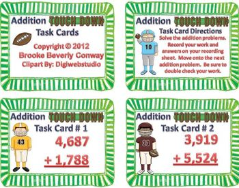 Addition Touchdown Task Cards