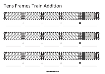 Addition Train  - Tens Frames (Numbers and Words)