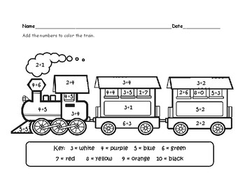 Addition Train Coloring By Britterbugs Teachers Pay Teachers