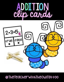 Addition True/False Clip Cards