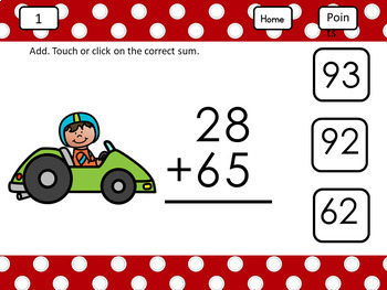 For Use with Google Classroom Add Two-Digit Numbers with Regrouping Race Car