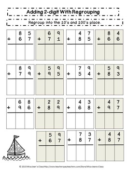Addition Three-Digit With Regrouping - Student Practice Book