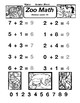 Addition Under 10 Math Zoo Worksheet