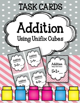 16 Addition Linking Cubes Task Cards. Adding with Interlocking Cubes!  Counting.