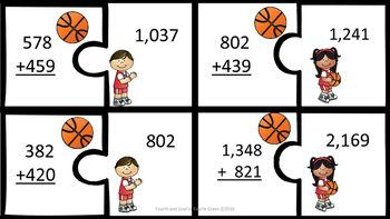 Addition Up to 4 digit by 4 digit (with & without regrouping) basketball version