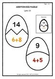 Addition (Upto 25) . Egg Puzzle - Grade 1
