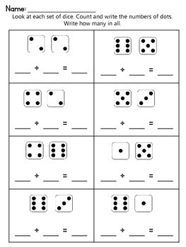 Addition Worksheets Using Dice