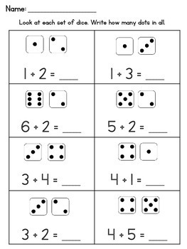 Addition Within 10 Worksheets Using Dice by Learning ...