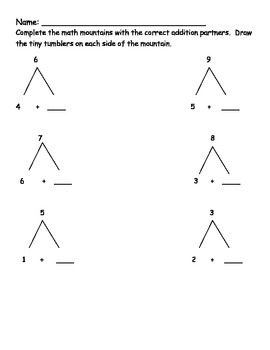 Addition Using Math Mountains Worksheets