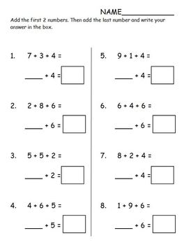 Addition Using Tens 1.OA.6