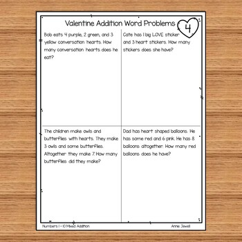 Addition Valentine Word Problems Numbers 1 - 10 for Kindergarten and 1st Grade