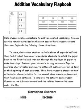 Addition Vocabulary Flapbooks