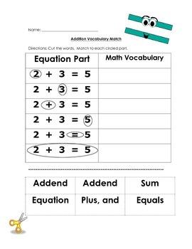 Addition Vocabulary Match