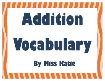 Addition  My Math 3rd Grade Vocabulary Posters