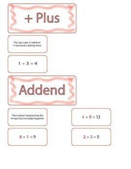 Addition Vocabulary Review Game