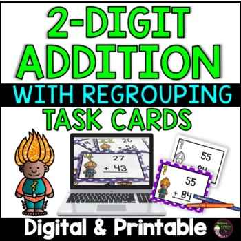 2 Digit Addition WITH regrouping (Superhero theme) Task Cards