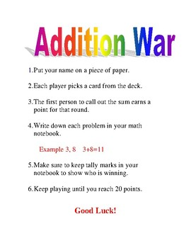 Addition War Card Game Directions for First Grade Math Centers