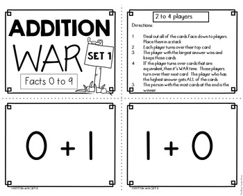 Addition Facts Game FREEBIE