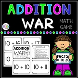 Addition War Facts 10 to 20