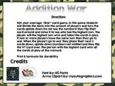 Addition War Game (Adding 0-9) First Grade MATH