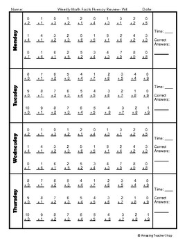 Addition Weekly Math Facts Fluency Review