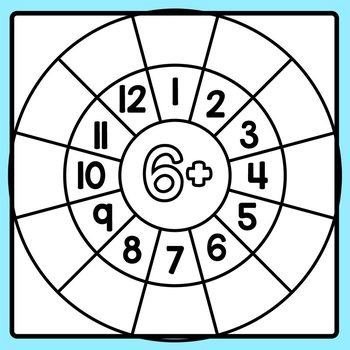 Addition Wheels to 12 with Blank Answer Sections Clip Art Commercial Use