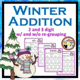 Addition (2 and 3 Digit) - Color the Sum - Winter