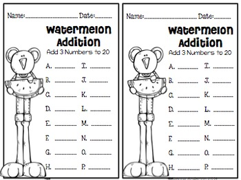 Addition With 3 Numbers {Sums to 20} Freebie!